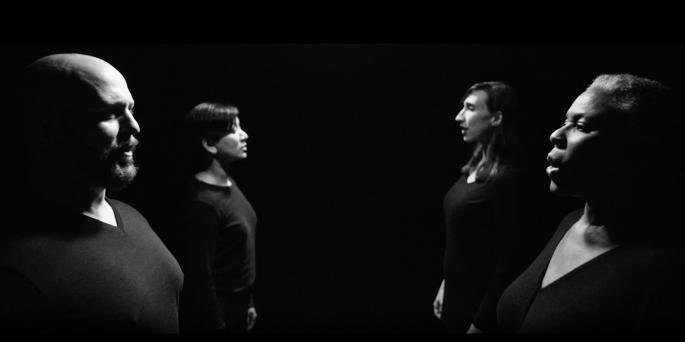 Black & white image of four vocalists in the Los Angeles Master Chorale